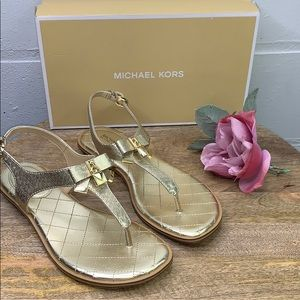 MICHAEL KORS Alice Metallic Leather Sandal